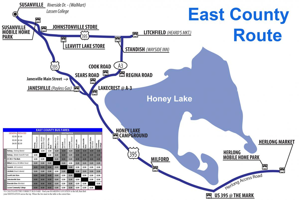 East County Route Map