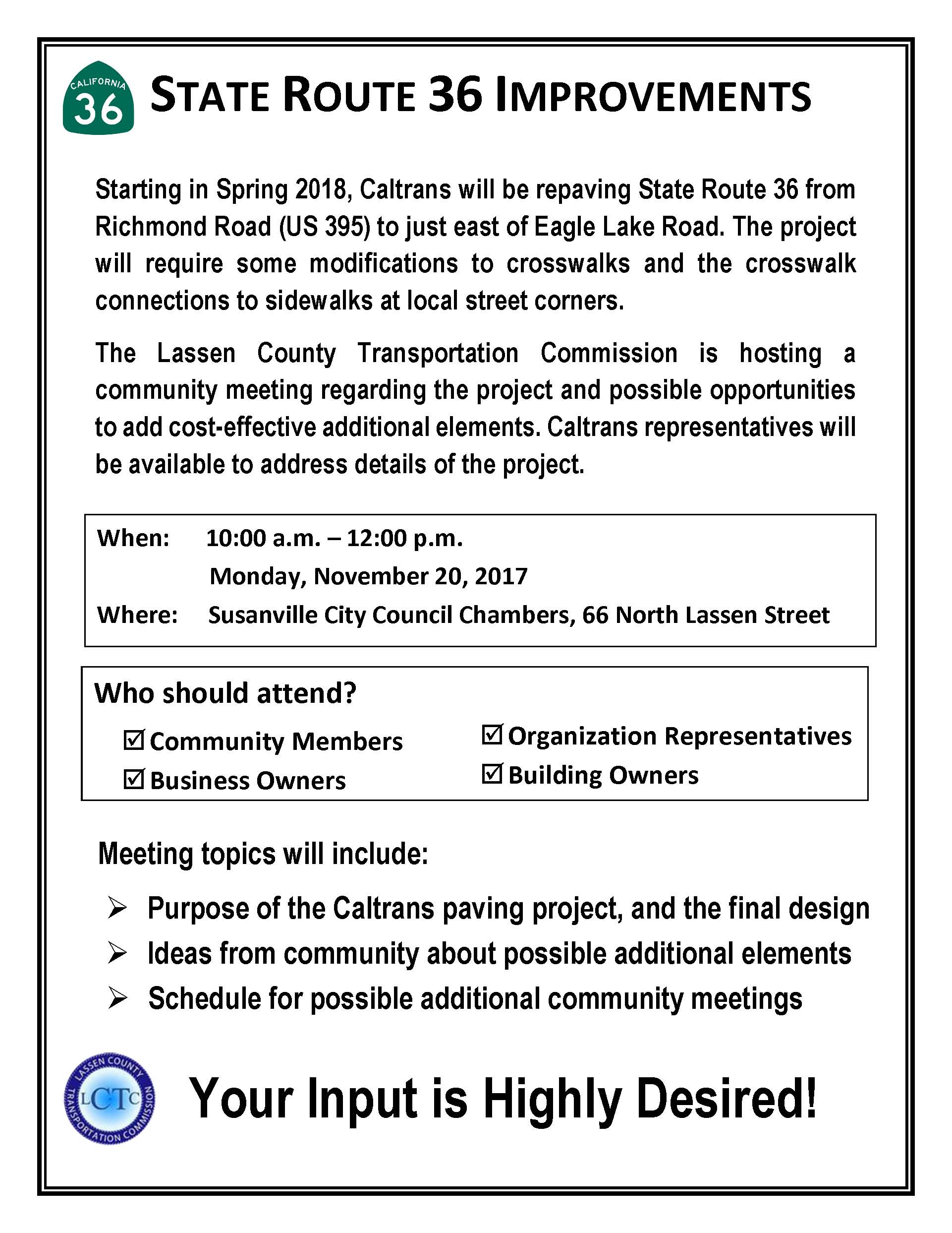 Community meeting about State Route 36 Improvements on November 20th 2017