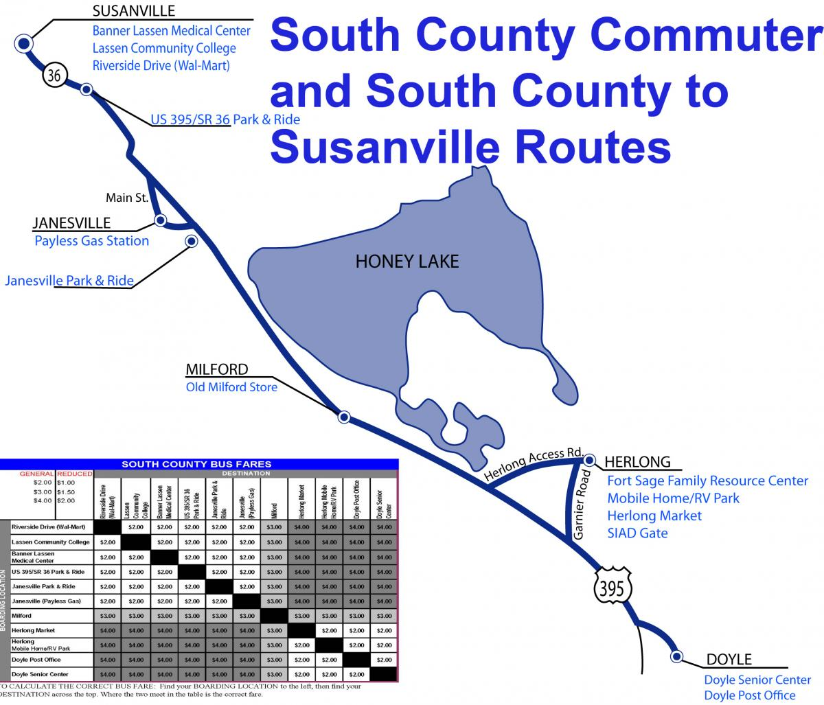 South County Commuter and South County to Susanvile Route Map